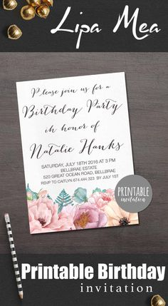 Floral Birthday Invitation Printable, Women Birthday Invitation, Adult Birthday Invitation, Printable Birthday Party Invitation Boho. lipamea.etsy.com