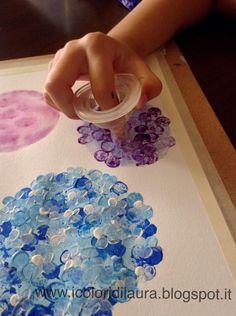Dipingere la natura coi bambini...tutorial ortensie