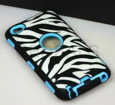 """inMOGUL(TM) Blue + Sky Black + Zebra Stripes Commuter (Full Body Armor) Apple iPod Touch 4 4G 4th Generation Silicone Protective Tough Case (Sealed in inMOGUL(TM) Packaging) """"Ultra Durability Guarantee + Built-in Screen Protector + Includes Bonus Stylus"""":Amazon:Cell Phones & Accessories"""