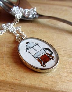 The French Press, tiny original illustration necklace by TuckooandMooCow