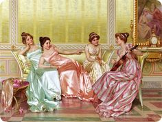 Regency ladies conversing.