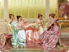 Regency ladies conversing.