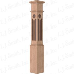 Post-to-post box newel.  This is different with the design and walnut inlay! Item #: LJ-4096-OW 7 1/2X53 3/16 DMND/TRPZD BXN