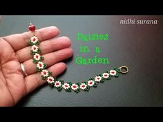 Daisies in a Garden Seed Bead Bracelet Seed Bead Patterns, Beaded Jewelry Patterns, Bracelet Patterns, Peyote Patterns, Beaded Bracelets Tutorial, Earring Tutorial, Beads Tutorial, Making Bracelets With Beads, Diy Jewelry Making