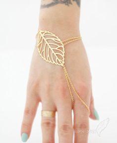 LIMITED TIME// Veiny Leaf Index Finger Slave Bracelet, 16k Gold Plate plus Extension, Slave Bracelet
