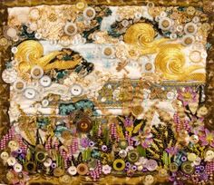 """Small beaded art quilt - """"Peace Gardens 3"""" #FlowerShop"""