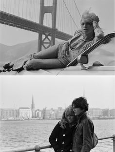 Photo of Nathalie Delon on the set of Profession: Adventuriers by JP Laffont, 1973; photo of Delon with Renaud Verley on the set of La Leçon Particulière by Odile Montserrat, 1969.