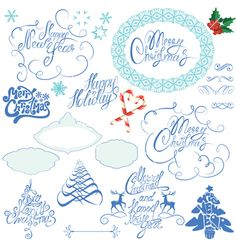 Collection of christmas and new year calligraphy vector - by lian2011 on VectorStock®