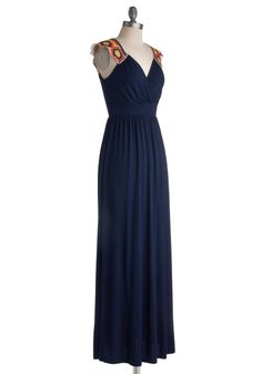 V.I.Peace Dress. Enjoy your all-access passes to the weekend folk festival in this jersey maxi dress! #blue #modcloth