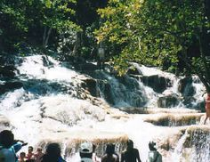 This is Dunn's River Falls in Ocho Rios, Jamaica. I took this trip with my dear kids! One child took the lead in guiding me up the falls; one stood behind me so I wouldn't fall! I couldn't have done it without them. This was a wonderful family vacation! :)