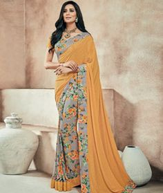 Buy Mustard Crepe Printed Saree With Blouse 73997 with blouse online at lowest…