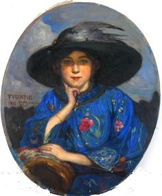 """""""Yvonne"""", Fernand ALLARD L'OLIVIER (1883-1933) Superb #oil on #canvas. #Signed, titled and dated #1911. Beautiful colors. For sale on Proantic by Galerie Serventi."""