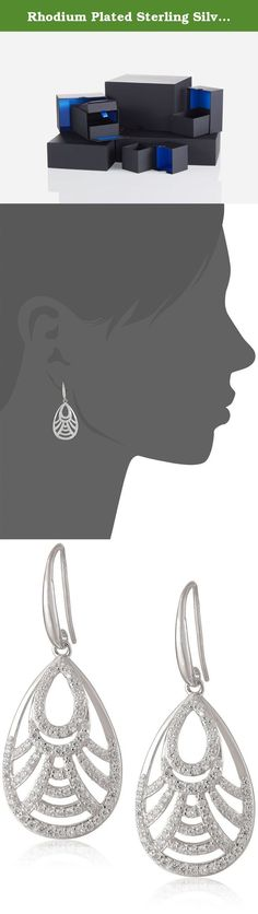 Rhodium Plated Sterling Silver Cubic Zirconia Teardrop Dangle Earrings (2.2 cttw). Sterling silver earrings featuring open teardrops with sparkling cubic zirconia. Imported.
