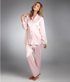 ec9498df89 Linda Hartman  Stretch Satin Pajama Set with Lace Trim Satin Pyjama Set
