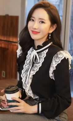 StyleOnme_Pearl Button Lace Detail Ribbon Blouse #lace #ribbon #blouse #koreanfashion #kstyle #kfashion #seoul