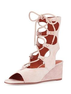 Shop Pink Suede Lace-up Short Flatform Gladiator Sandals from choies.com .Free shipping Worldwide.$92.9