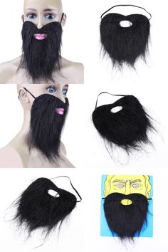 [Visit to Buy] 1pcs Funny Costume Party Fake Mustache Halloween Artificial Beard Facial Game Black Whisker Party Supplies #Advertisement