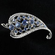 Blue Rhinestone Leaf Shape Pin Brooch
