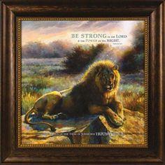 Lion of Judah framed art.