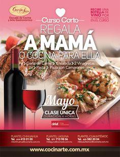 Consiente a mamá con este curso que se llevará a cabo los días 7,8 y 9 de mayo.Por su participación se les regalará una botella de vino.