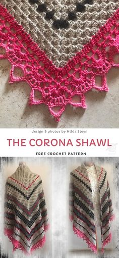 The Corona Shawl Free Crochet Pattern This design is the author's contribution to the online crafting community in times of crisis. We think it looks beautiful! If you need to keep busy to keep your mind at ease, why don't you start a new project? Crochet Shawl Free, Crochet Shawls And Wraps, Crochet Scarves, Crochet Motif, Crochet Clothes, Knit Crochet, Crochet Granny, Crochet Vests, Crochet Cape