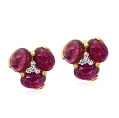 18K Gold Pink Tourmaline and Diamond Earrings Designed By The Mazza Company