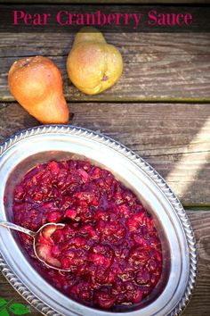 Pear Cranberry Sauce by Spinach Tiger #cranberrysauce
