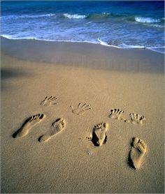 Fußstapfen in Sand Strand Hawaii - Douglas Peebles