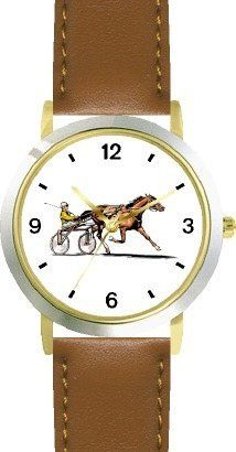 Sulky Horse or Standardbred Racehorse Horse - WATCHBUDDY® DELUXE TWO-TONE THEME WATCH - Arabic Numbers - Brown Leather Strap-Children's Size-Small ( Boy's Size & Girl's Size ) WatchBuddy. $49.95