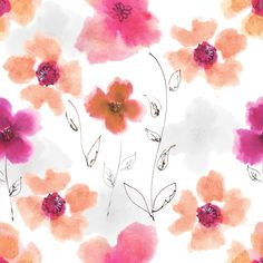 """Grafica di Valentina Compagnoni: """"Watercolor flowers field"""" #pattern #thecolorsoup #abstract #colors #textile #design #style #texture #flowers"""