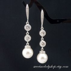 Bridal Pearl Earrings Wedding Jewelry by SweetMelodyShop on Etsy, $31.90