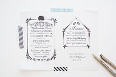 hand drawn/hand lettered invitation, turned into a stamp for a handmade feel.