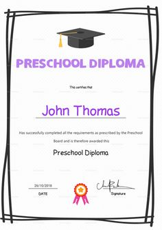 Preschool diploma graduation certificate template 12 formats elegant preschool diploma certificate template 12 formats included ms word photoshop file size yadclub Choice Image
