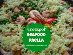 Check out this easy-peasy crockpot seafood paella recipe!