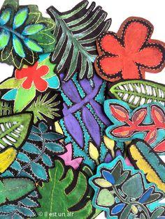 Textiles peints et brodé. Esprit tropical