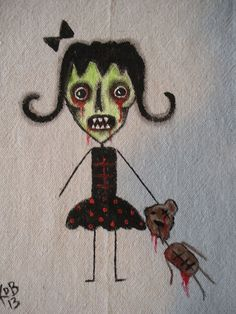 Zombie Girl with Teddy Bear Art Pillow Or Art by KimberlyBarnesArt, $20.00