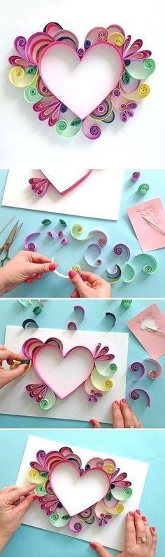 activité manuelle primaire, une carte, coeur en papier, jolies volutes, effet 3D, bricolage facile