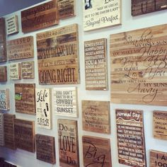 Crushing on these reclaimed wood signs at our store in Nashville.we carry lots of Urban Americana and up cycled artwork from artists all over the country. Reclaimed Wood Signs, Box Signs, Metal Signs, Country Girls, Marathon, Nashville, Home Goods, Gallery Wall, Island