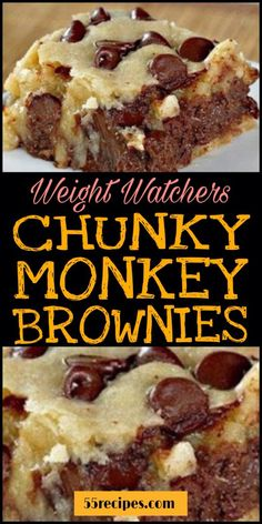Chunky Monkey Brownies – Ingredients: 2 cups Gold medal UNBLEACHED all-purpose flour (bleached flour toughens baked goods) 1 ½ cups brown sugar, packe ½ cup white sugar 2 sticks cup) unsalted butter, softened 2 large… Dessert Weight Watchers, Weight Watcher Cookies, Plats Weight Watchers, Weight Watchers Meals, Weight Watchers Brownies, Weight Watchers Recipes With Smartpoints, Ww Desserts, Healthy Desserts, Baby Girl Fashion