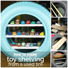 Recycle an old tire into a fun and functional shelf for toy cars.