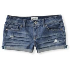 Aeropostale Light Wash Denim Shorty Shorts ($13) ❤ liked on Polyvore