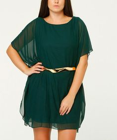 This Dark Green Belted Cape-Sleeve Dress - Plus is perfect! #zulilyfinds