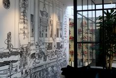 today i found that amazing british artist Charlotte Mann , who decorate houses drawing on walls with a black marker. making stunning fresc. Home Wall Colour, Wall Colors, Rue Verte, Wall Writing, Cardboard Furniture, Mural Wall Art, House Drawing, Drawing Artist, Inspiration Wall