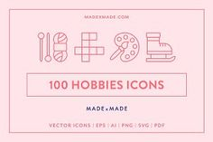Ad: Line Icons – Hobbies by Made by Made on A wonderful collection of 100 'Hobbies' themed vector line icons suitable for web, print, symbols, infographics and apps. This set includes Back Icon, Business Illustration, Photoshop Effects, Icon Pack, Line Icon, Visual Communication, Journal Cards, Design Bundles, School Design