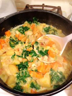 fall vegetable chowder with kale