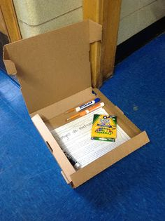 At the end of the school year, ask a local pizzeria for clean, empty pizza boxes. Then, place summer homework, extra school supplies, and other goodies for kiddos to use over the summer! The box is durable and will hold up better than a folder or baggie.