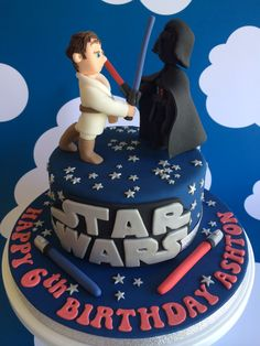 Star Wars Cake with Fondant Darthvader  Luke Skywalker... by Sevenoakspartycakes.co.uk
