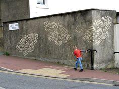 Hastings graffiti & street art - The Hastings Moths project - Reverse (subtraction) graffiti - by Paul  Moose  Curtis