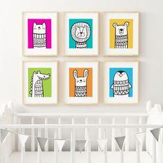 Nursery Wall Art Vibrant Animal Prints   Set of Six   Nursery Decor   5x7   8x10   A4 by sosoyoyo on Etsy