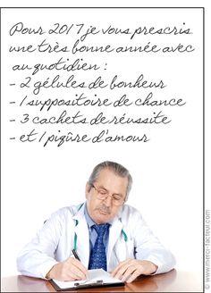 Prescription de la nouvelle année - Carte de voeux humour 2017 par La Poste